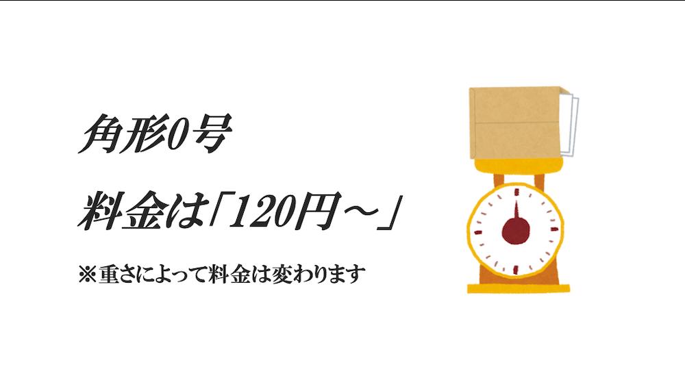 角形0号の切手代(郵便料金)